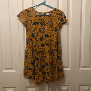 URBAN OUTFITTERS YELLOW FLORAL T-SHIRT DRESS